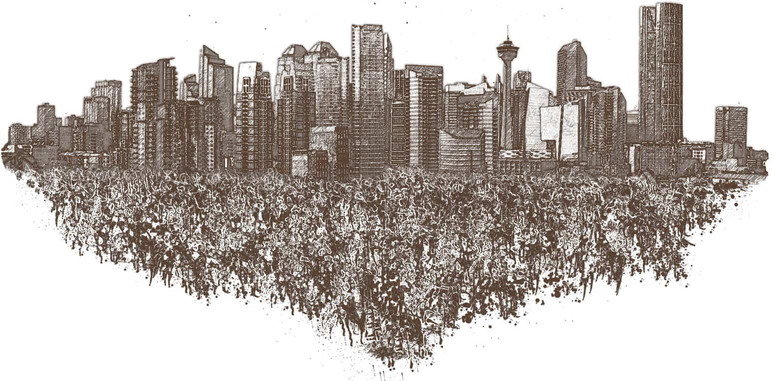 Calgary skyline sketch graphic