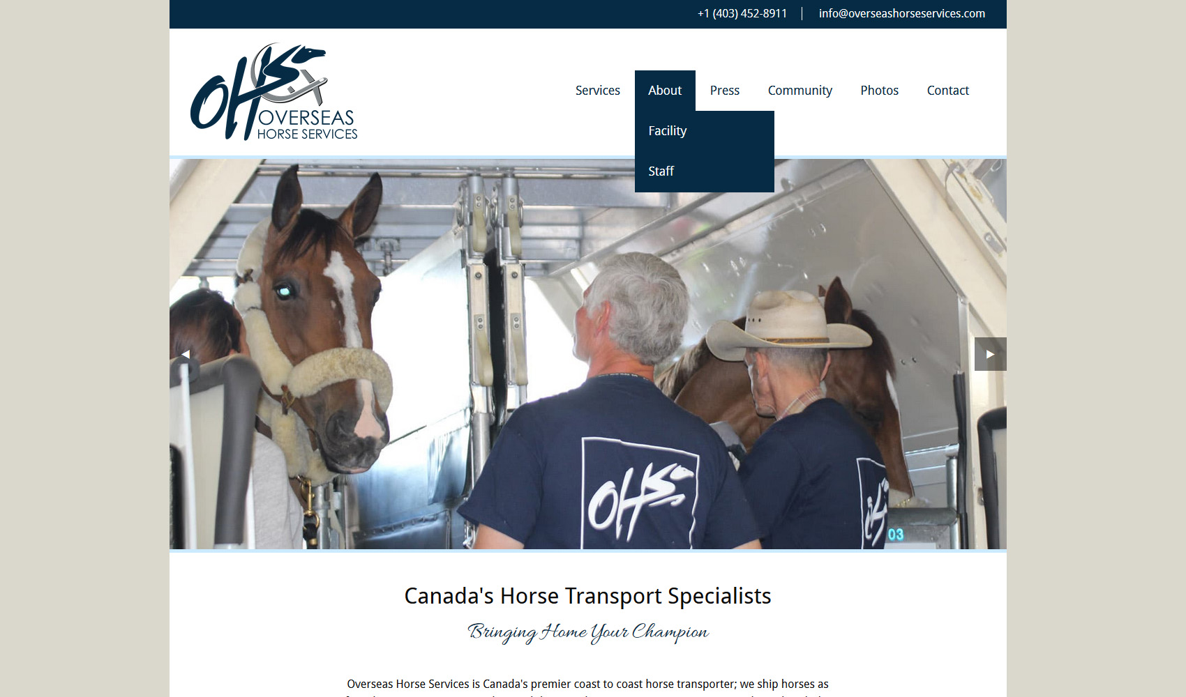 Overseas Horse Services home page screenshot